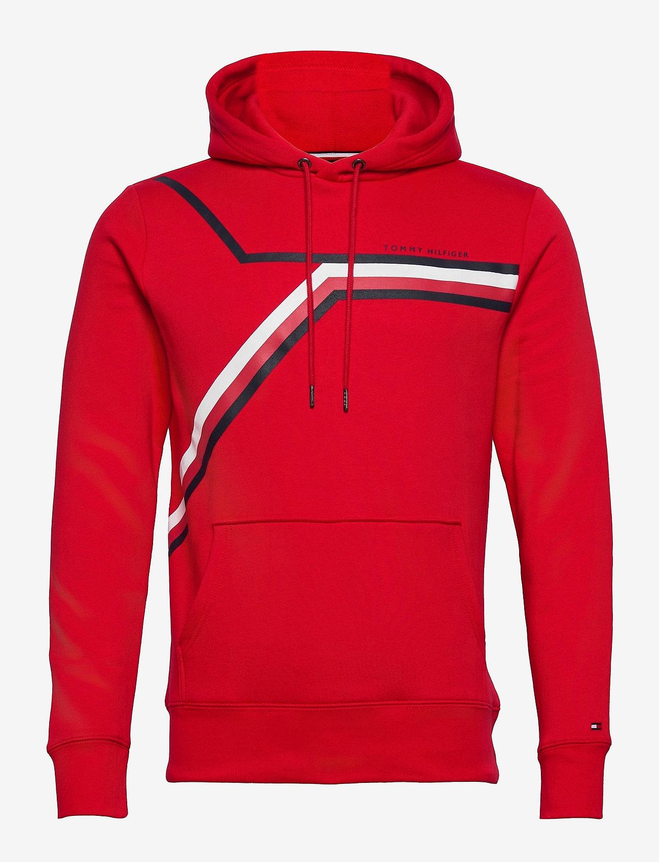Tommy Hilfiger - SPLIT CORP STRIPE HOODY - hoodies - primary red - 0