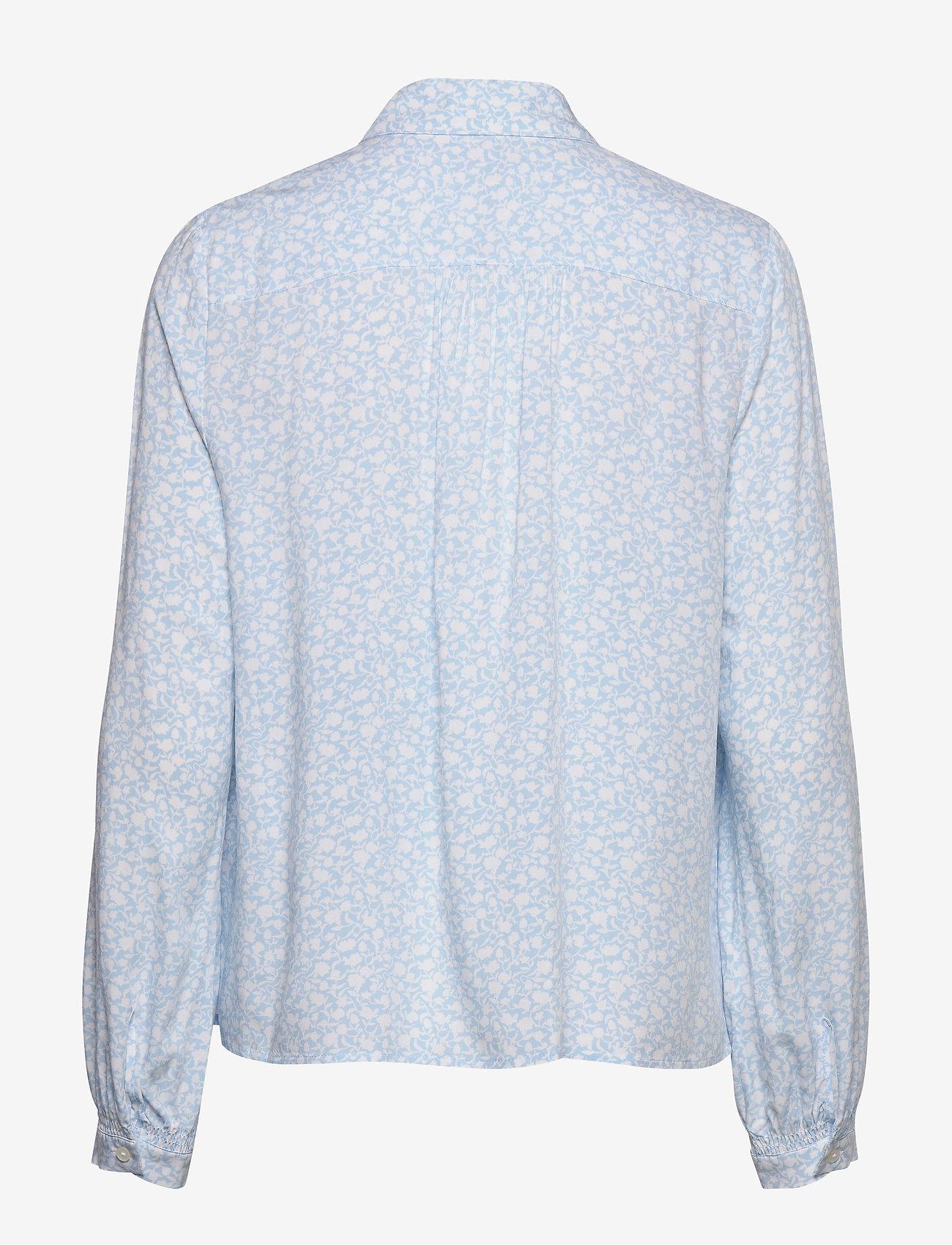 Tommy Hilfiger - DANEE HALF PLACKET BLOUSE LS - long sleeved blouses - posy prt / sail blue