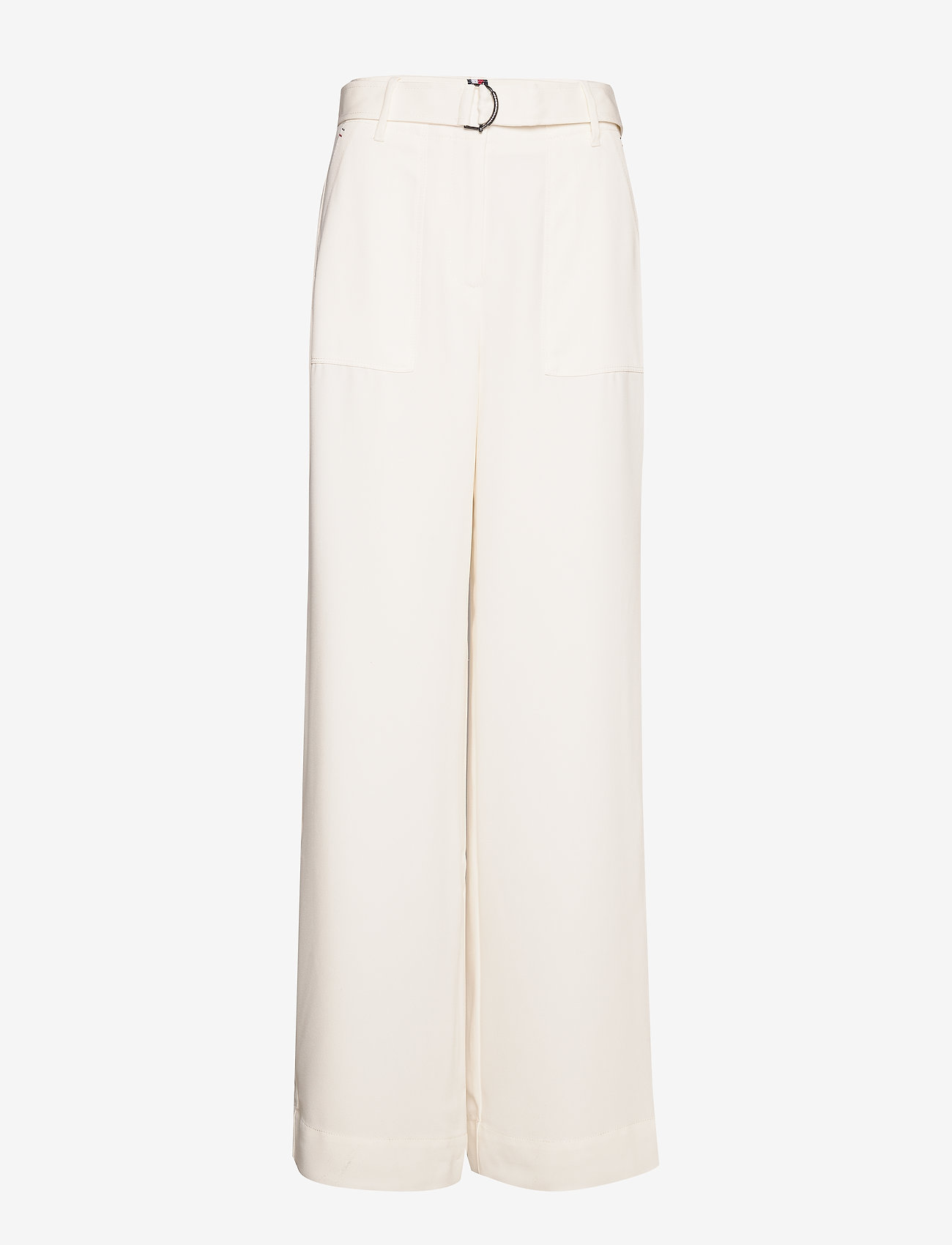 Tommy Hilfiger - ANVERS SATIN CREPE W - wide leg trousers - ivory