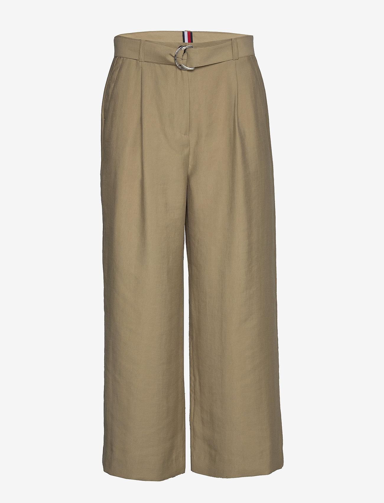 Tommy Hilfiger - TENCEL TWILL WIDE LEG CR PANT - wide leg trousers - surplus khaki - 0