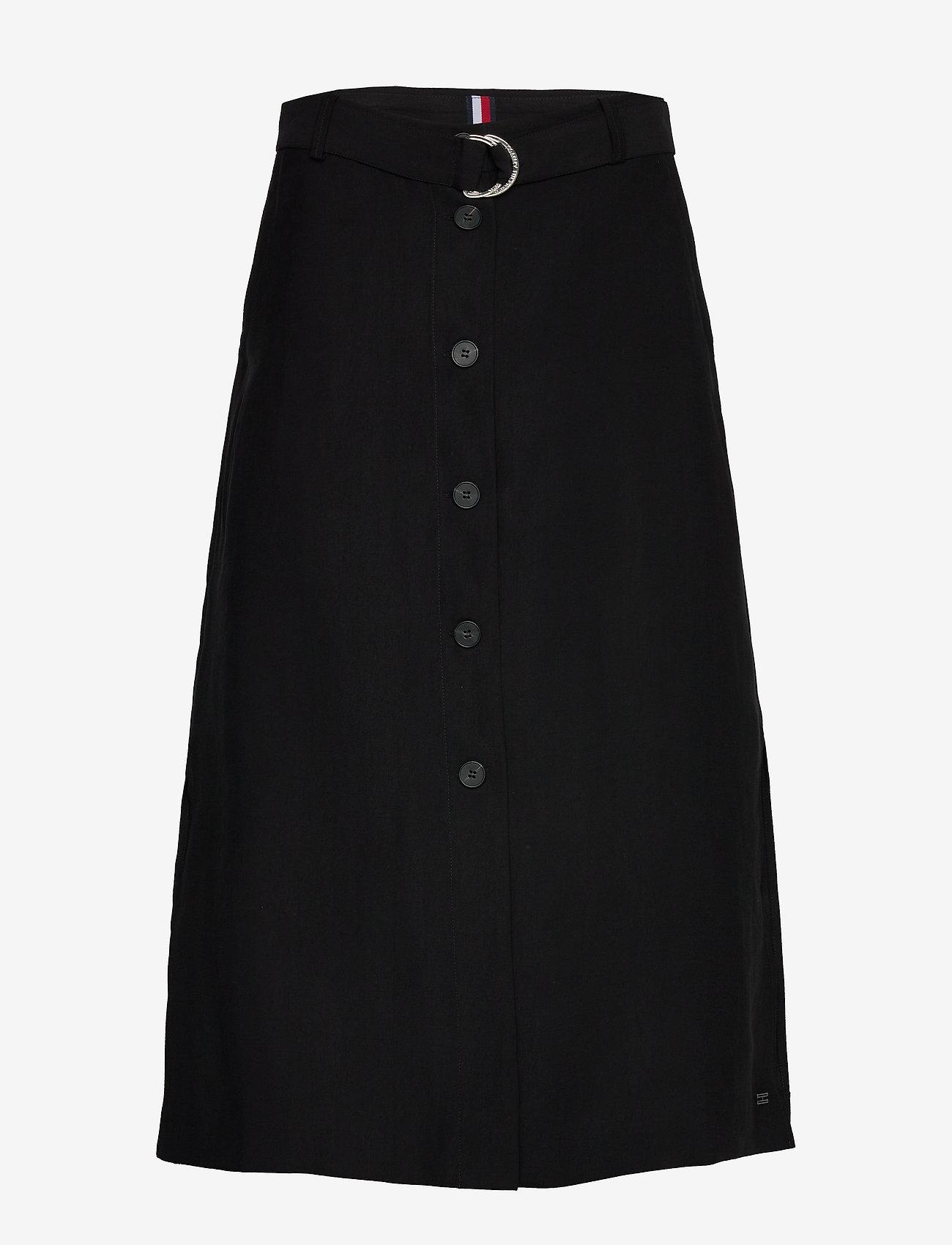 Tommy Hilfiger - TENCEL TWILL SKIRT - midi skirts - black - 0