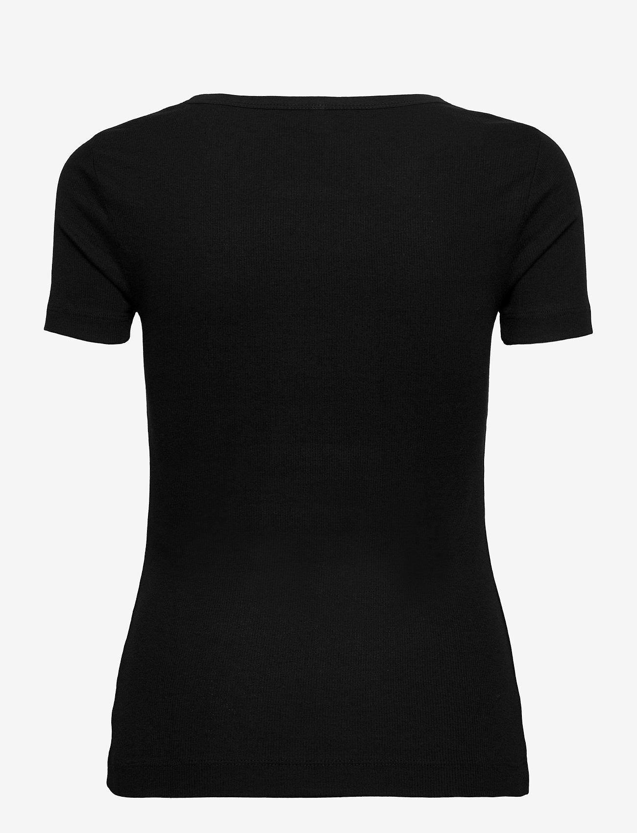 Tommy Hilfiger - TH ESS SKINNY OPEN-NK RIB TOP SS - t-shirts - black - 1