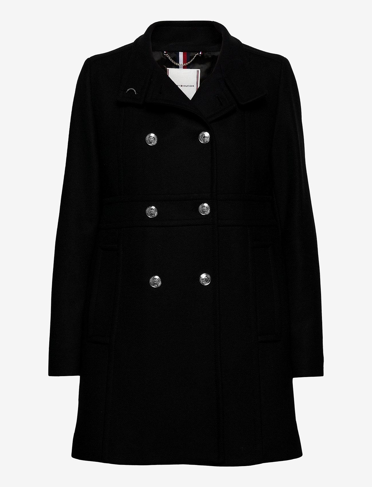 Tommy Hilfiger - WOOL BLEND FUNNEL COAT - wool coats - black - 0