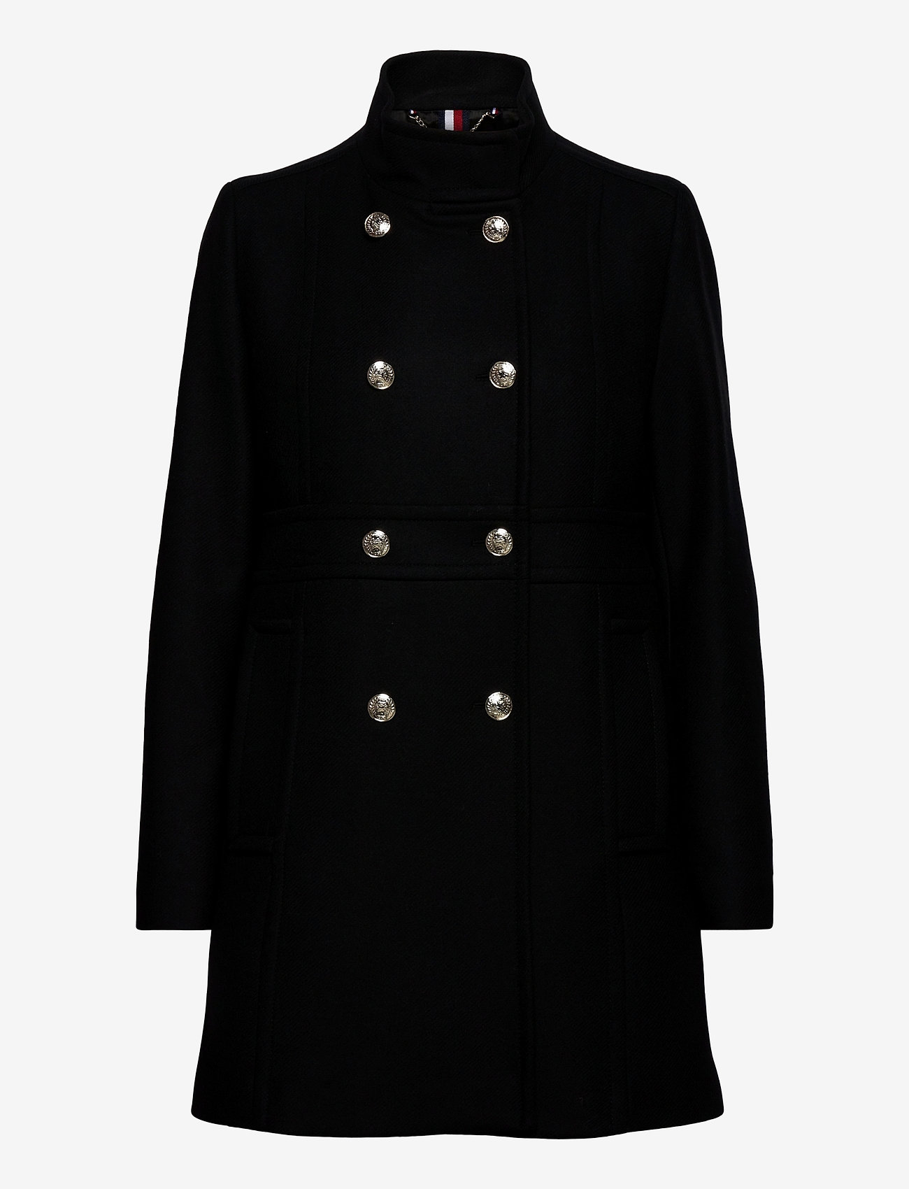 Tommy Hilfiger - WOOL BLEND FUNNEL COAT - wool coats - black - 1