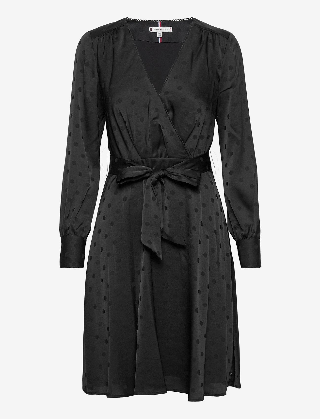 Tommy Hilfiger - POLKA DOT FIT&FLARE WRAP DRESS - wrap dresses - black - 0