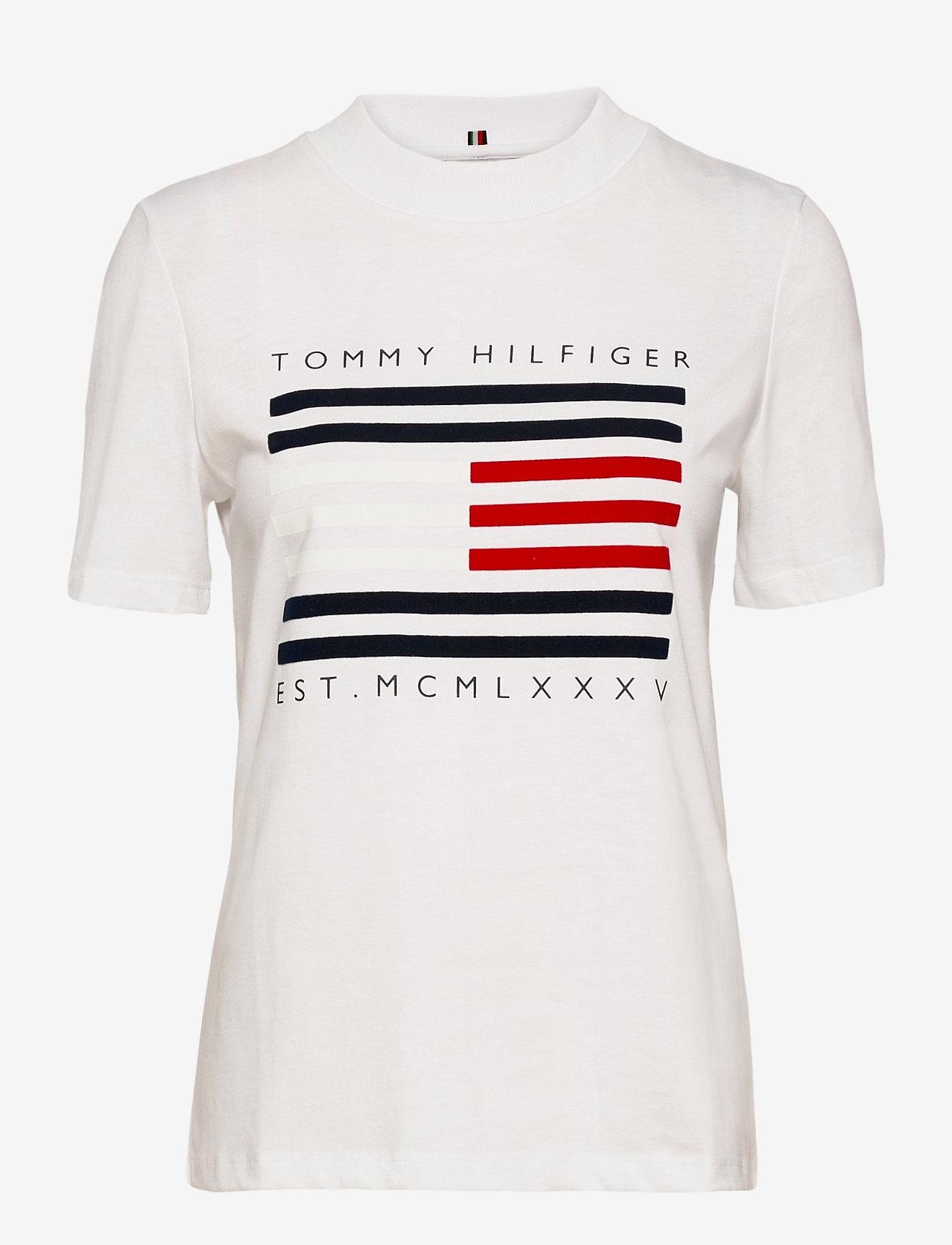 Tommy Hilfiger - REGULAR C-NK FLOCK TEE SS - t-shirts - white - 0
