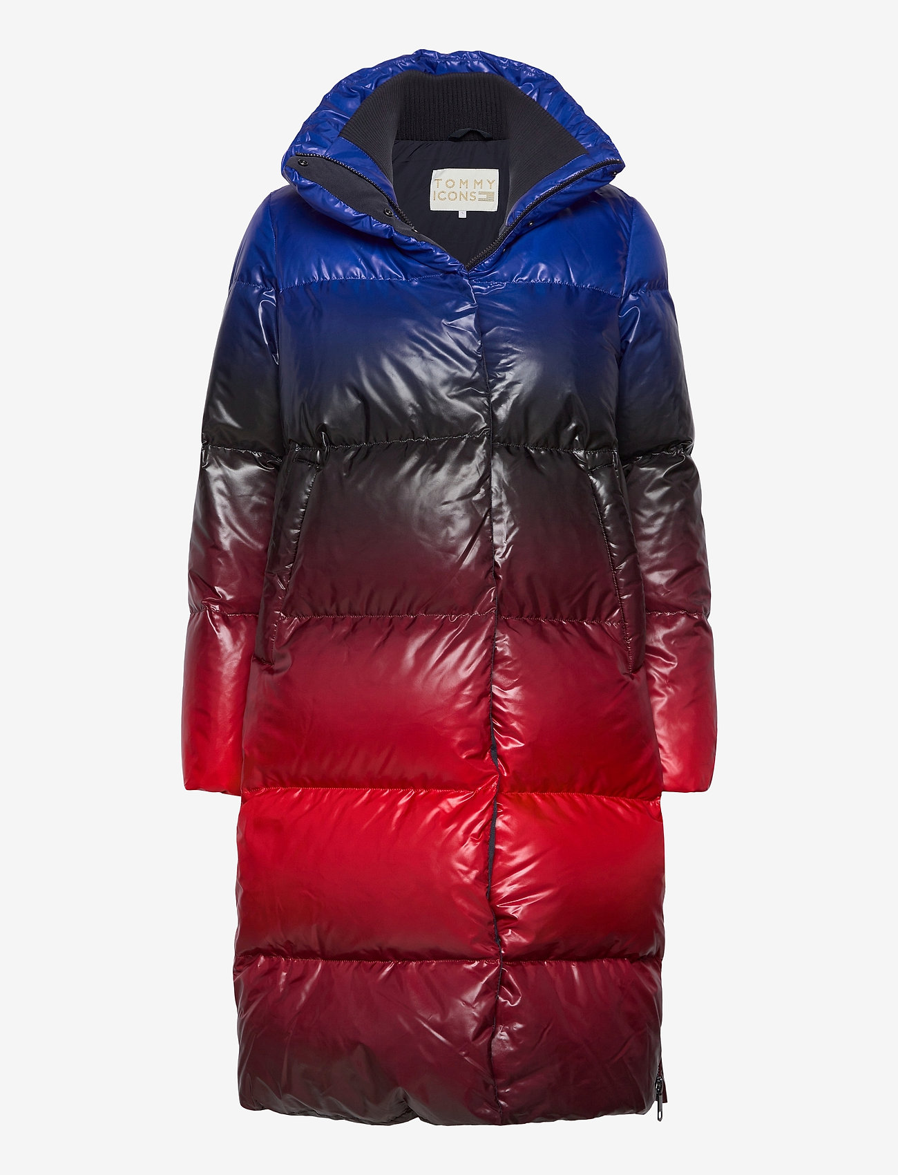 Tommy Hilfiger - ICON OMBRE PRINTED DOWN MAXI - padded coats - blue red ombre - 0