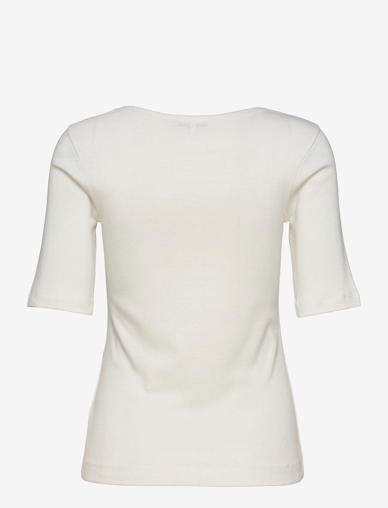 Tommy Hilfiger - SLIM SCOOP-NK COSY TOP 1/2 SLV - t-shirts - ecru - 1