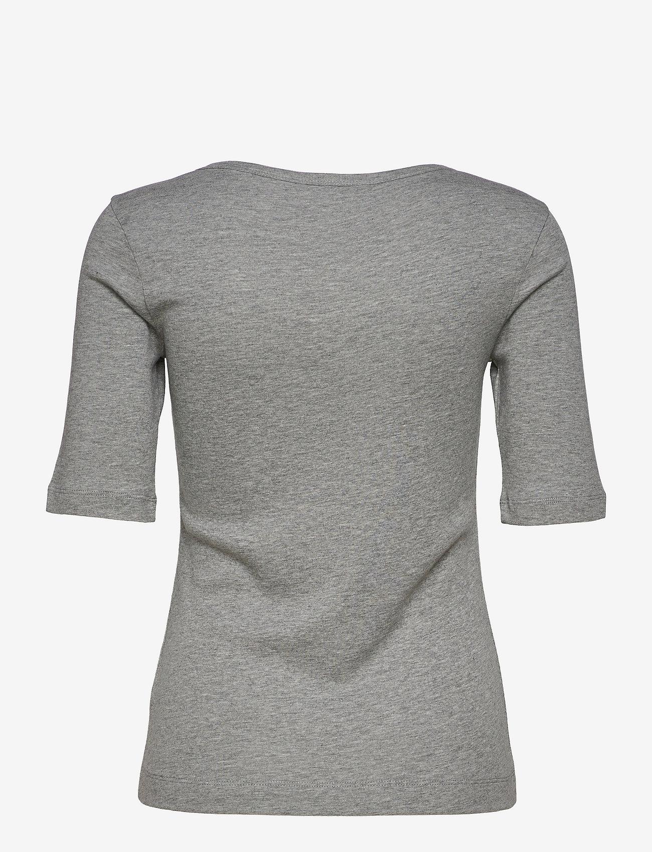 Tommy Hilfiger - SLIM SCOOP-NK COSY TOP 1/2 SLV - t-shirts - light grey heather - 1
