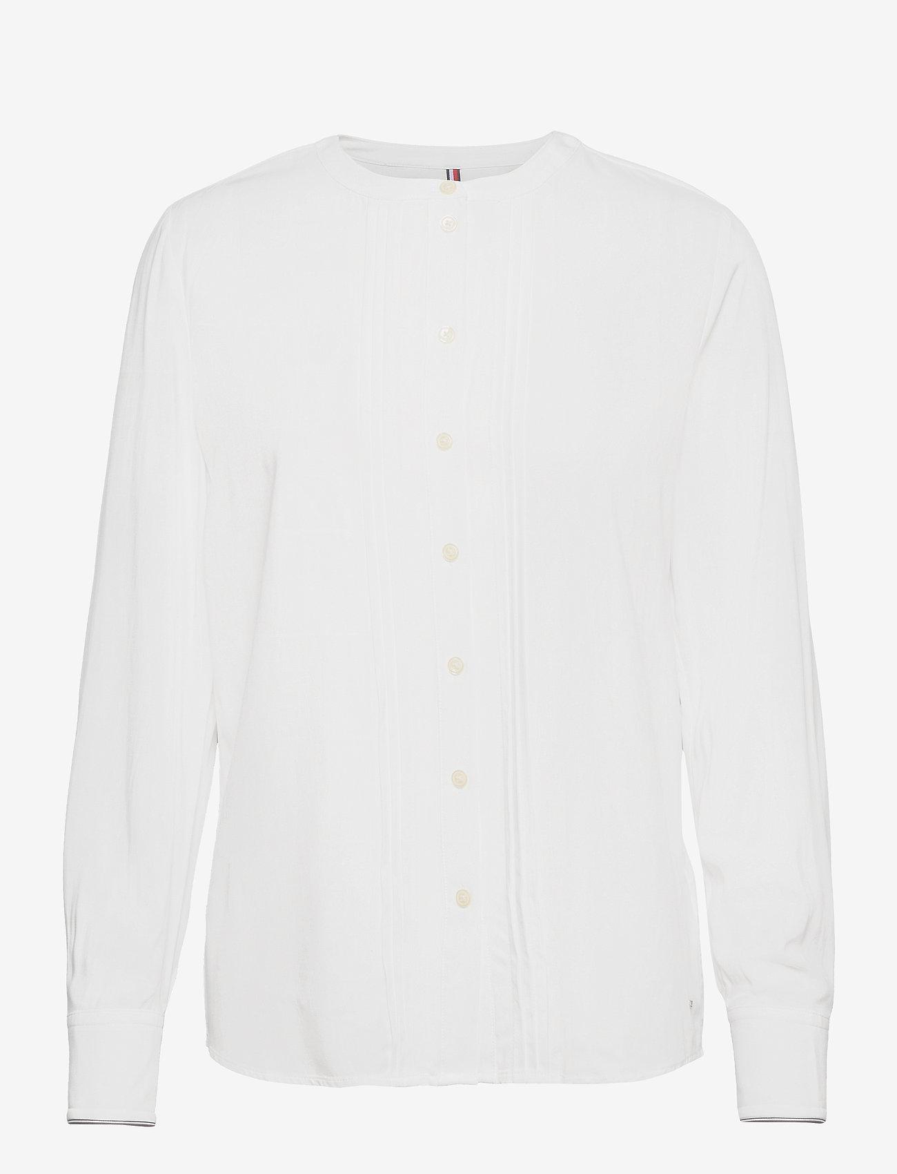 Tommy Hilfiger - VIS PLEATED REGULAR BLOUSE LS - long sleeved blouses - ecru - 0