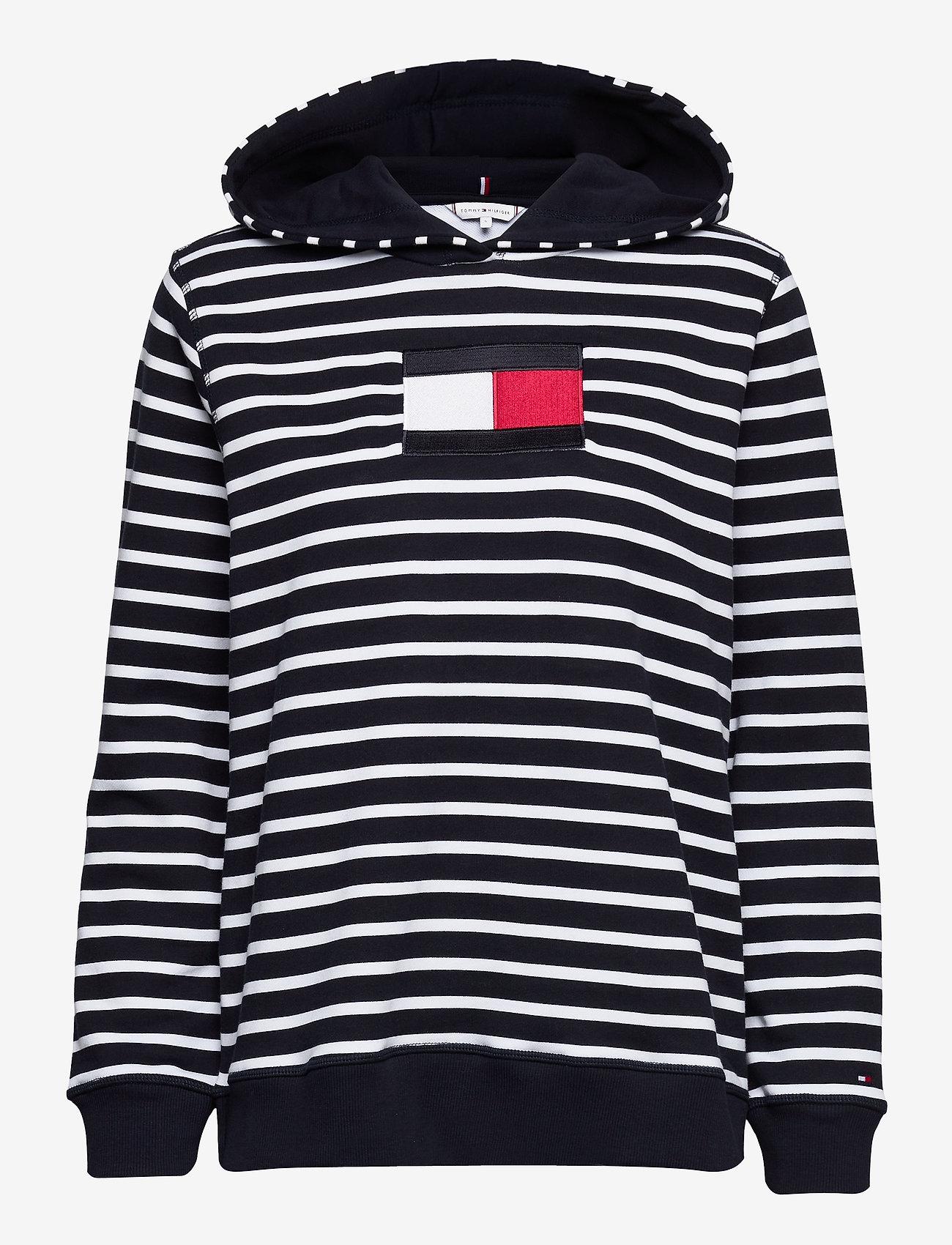 Tommy Hilfiger - ABO REGULAR FLAG HOODIE - sweatshirts & hættetrøjer - classic brenton stp/ dsrt sky/ wht - 0
