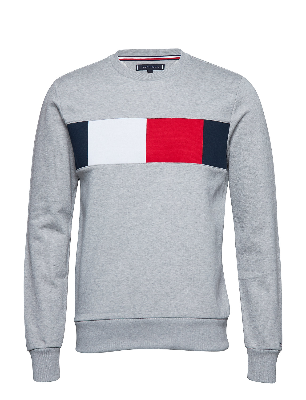 TOMMY HILFIGER Flag Chest Logo Sweatshirt Sweat-shirt Pullover Grau TOMMY HILFIGER