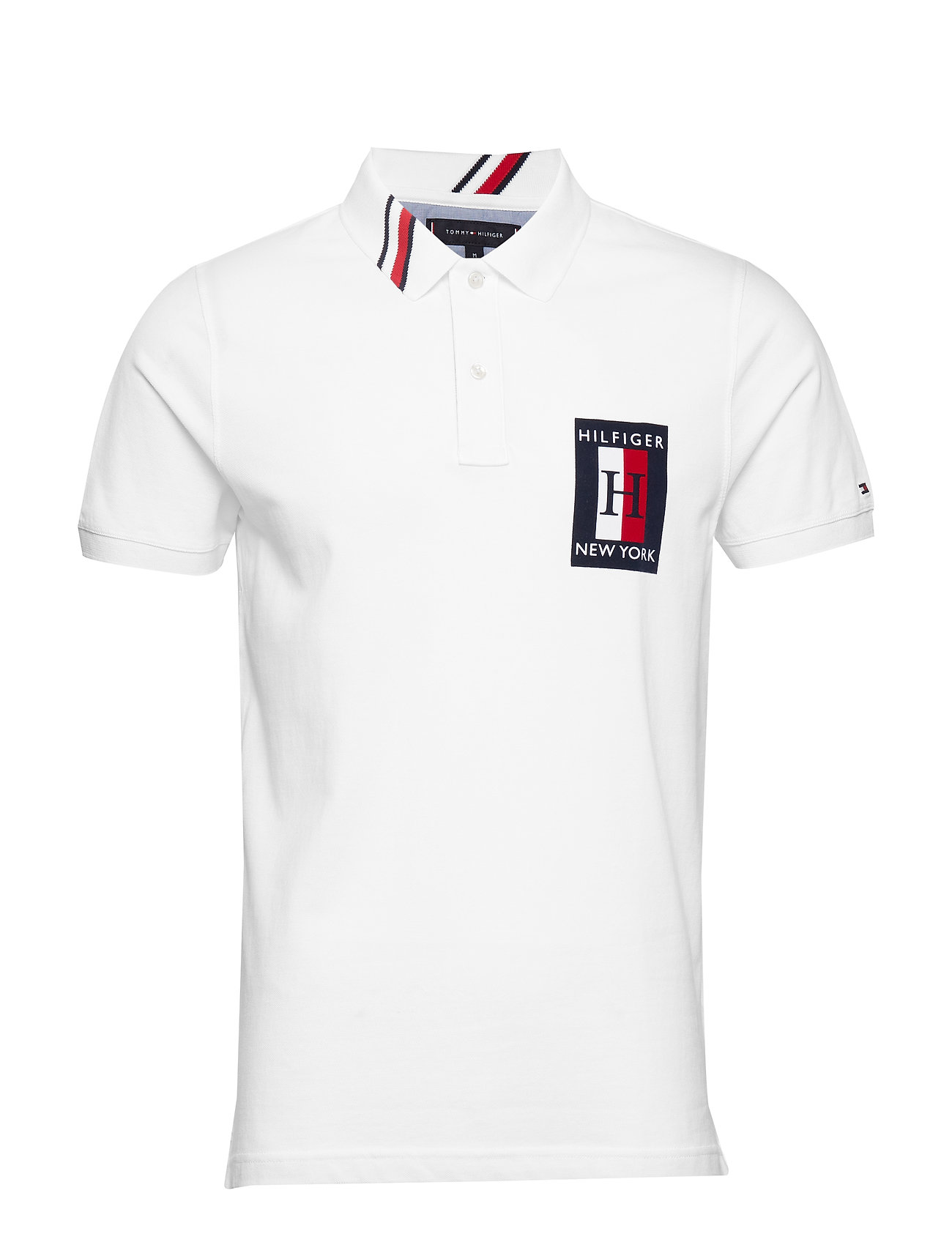 Tommy Hilfiger GLOBAL STRIPED COLLAR SLIM POLO - BRIGHT WHITE