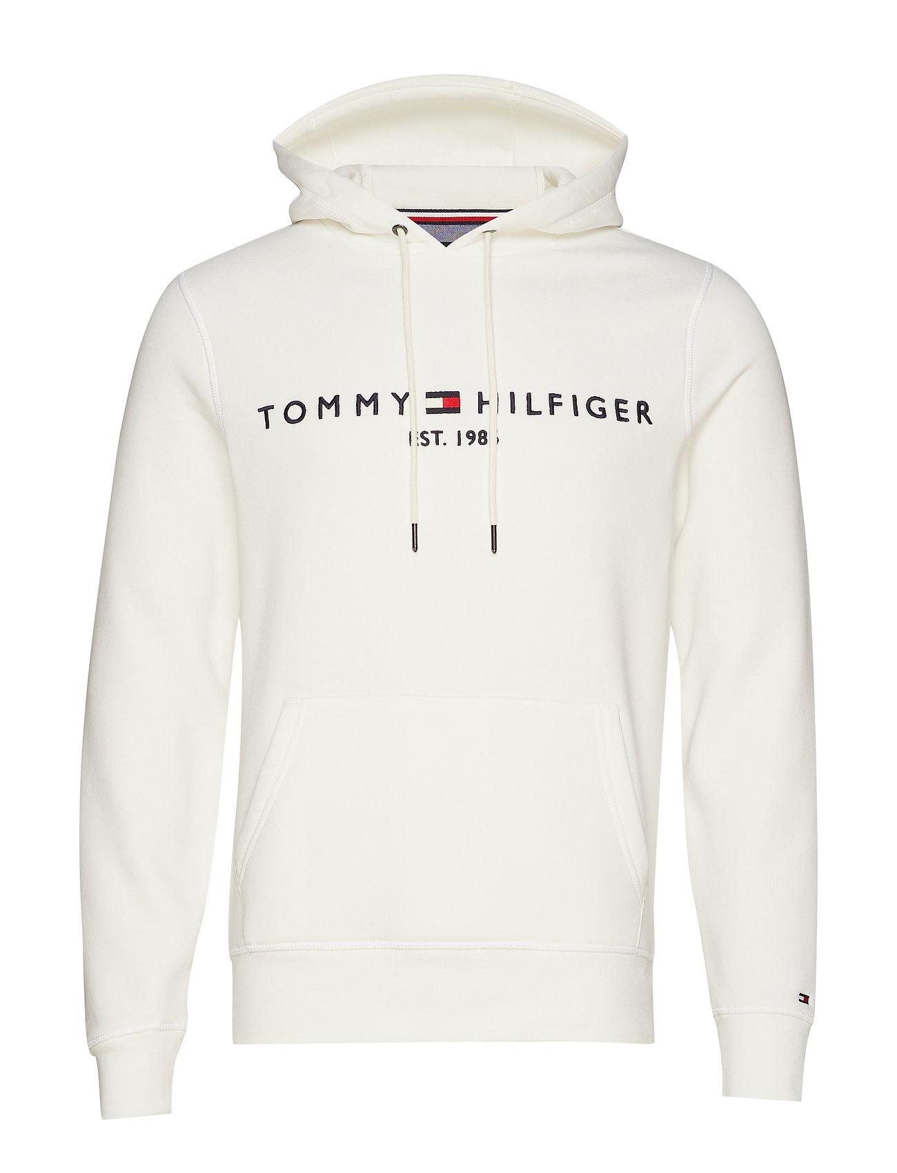 Image of Tommy Logo Hoody Hoodie Trøje Hvid Tommy Hilfiger (3452146893)