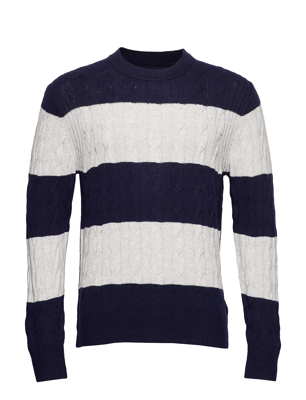 Tommy Hilfiger BLOCK STRIPED CABLE SWEATER - SKY CAPTAIN