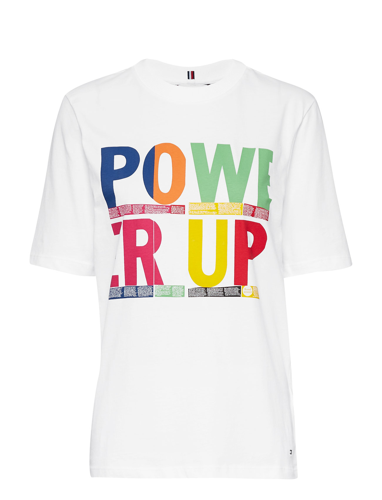 Tommy Hilfiger TORA OPEN NK TEE SS - CLASSIC WHITE / POWER UP