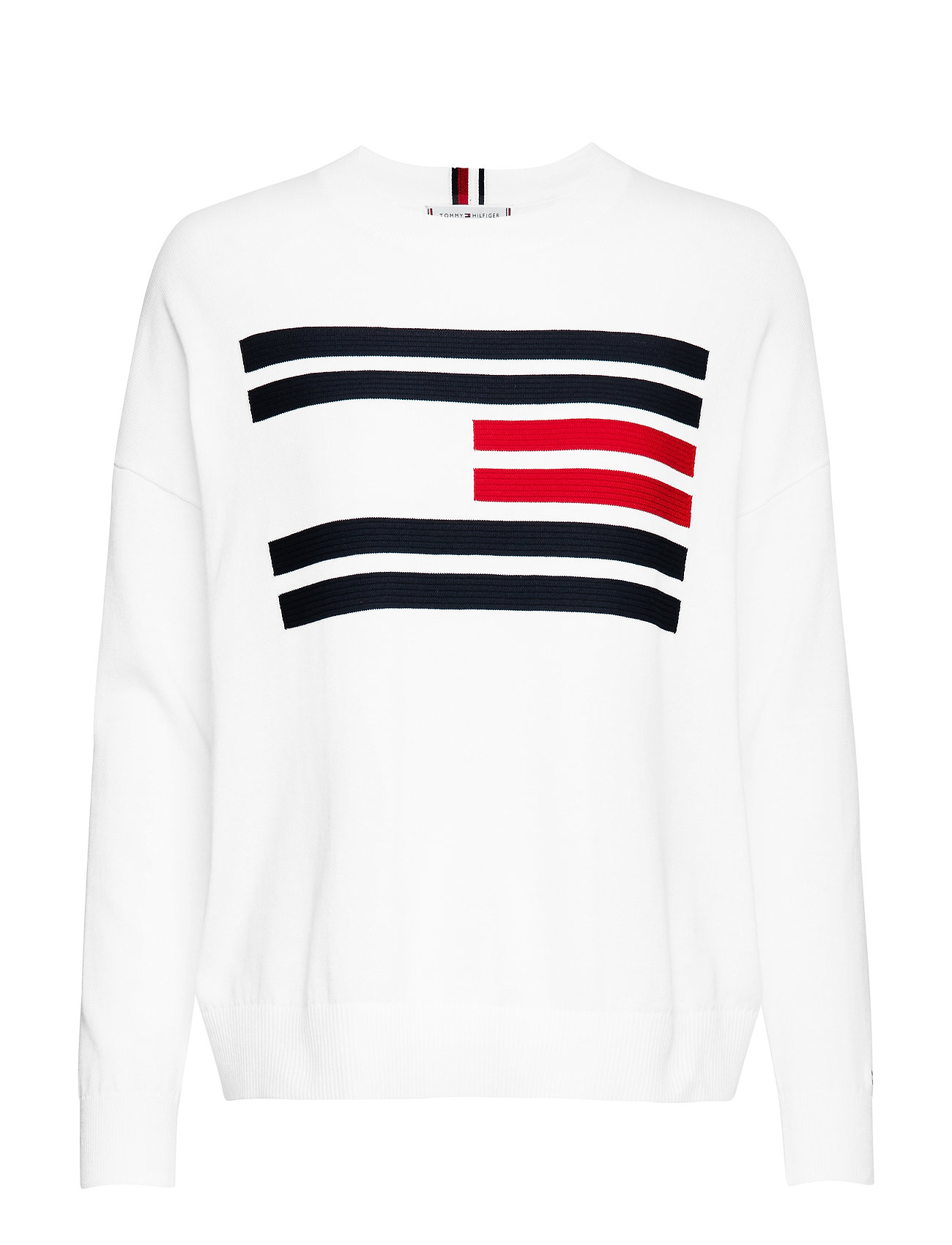 Tommy Hilfiger TH ESSENTIAL FLAG SWEATER - SNOW WHITE