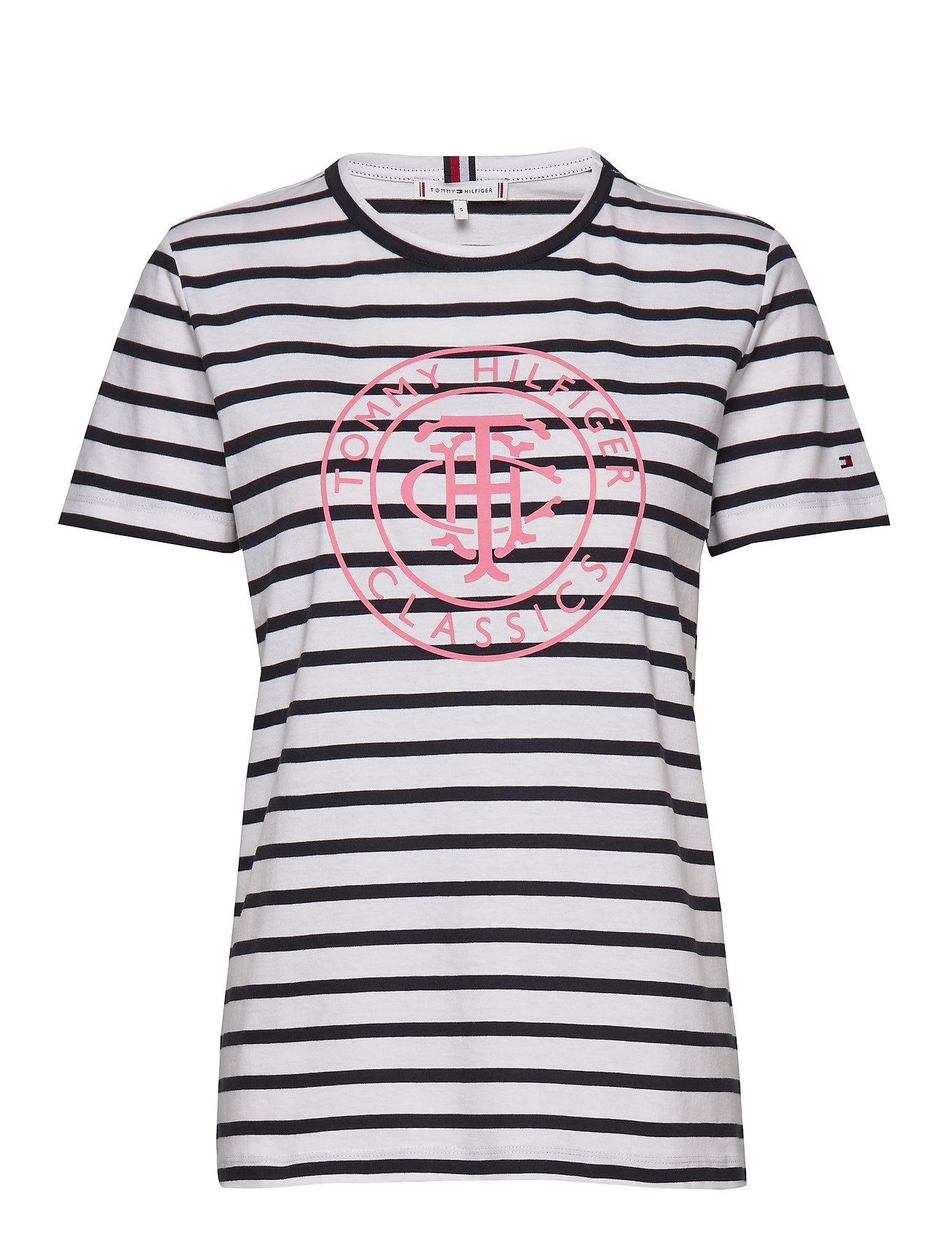 Tommy Hilfiger TH COOL ESS RELAXED GRAPHIC TEE - BRETON STP / DESERT SKY WHITE