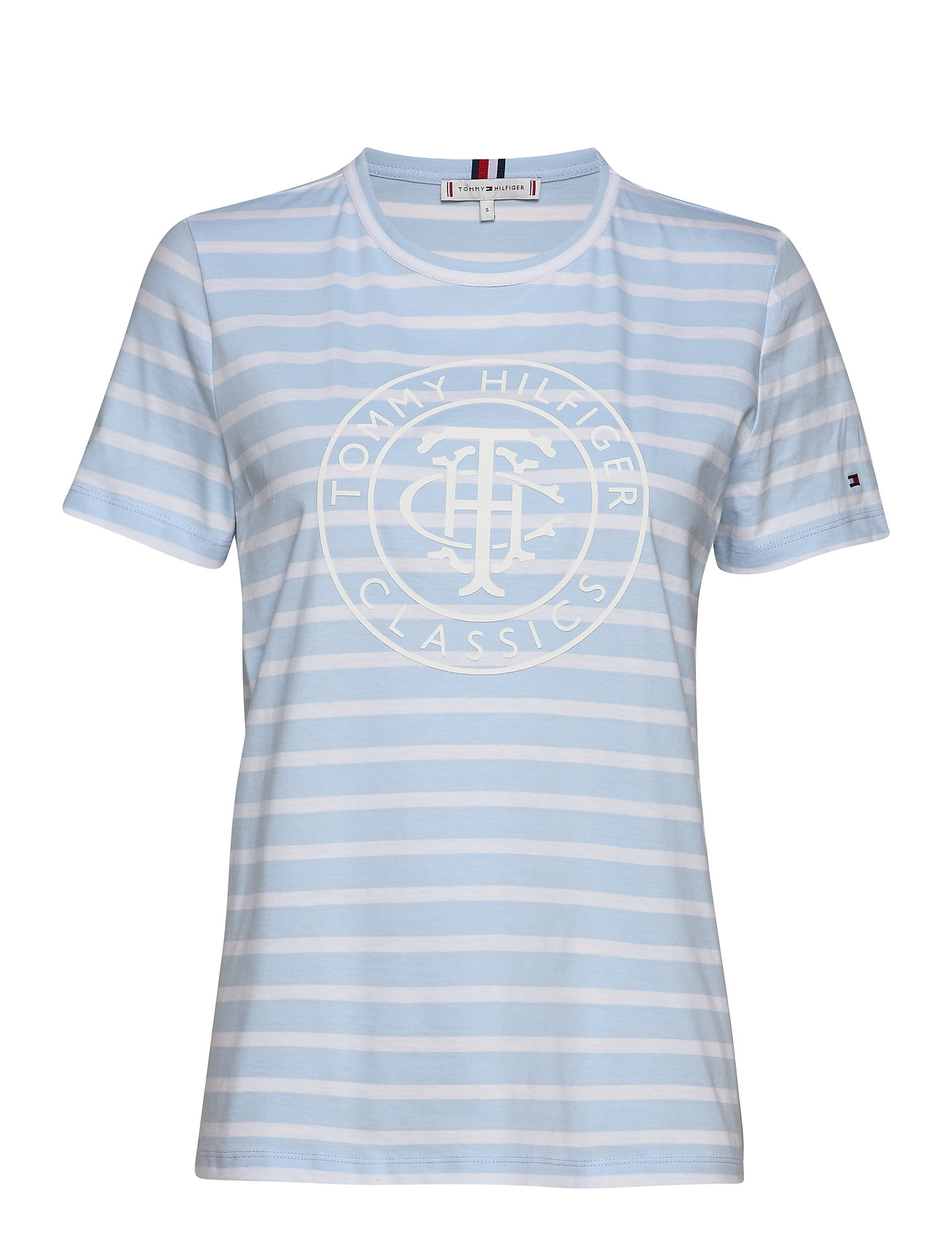 Tommy Hilfiger TH COOL ESS RELAXED GRAPHIC TEE - BRETON STP / BREEZY BLUE WHITE