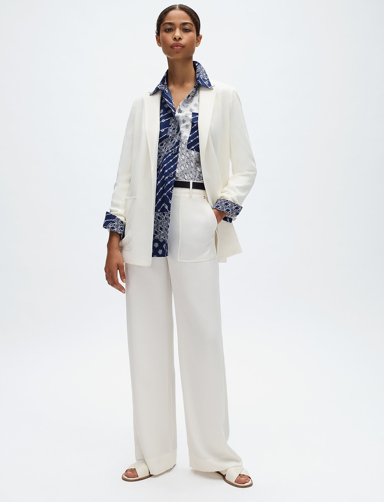 Tommy Hilfiger - ANVERS SATIN CREPE W - wide leg trousers - ivory - 0