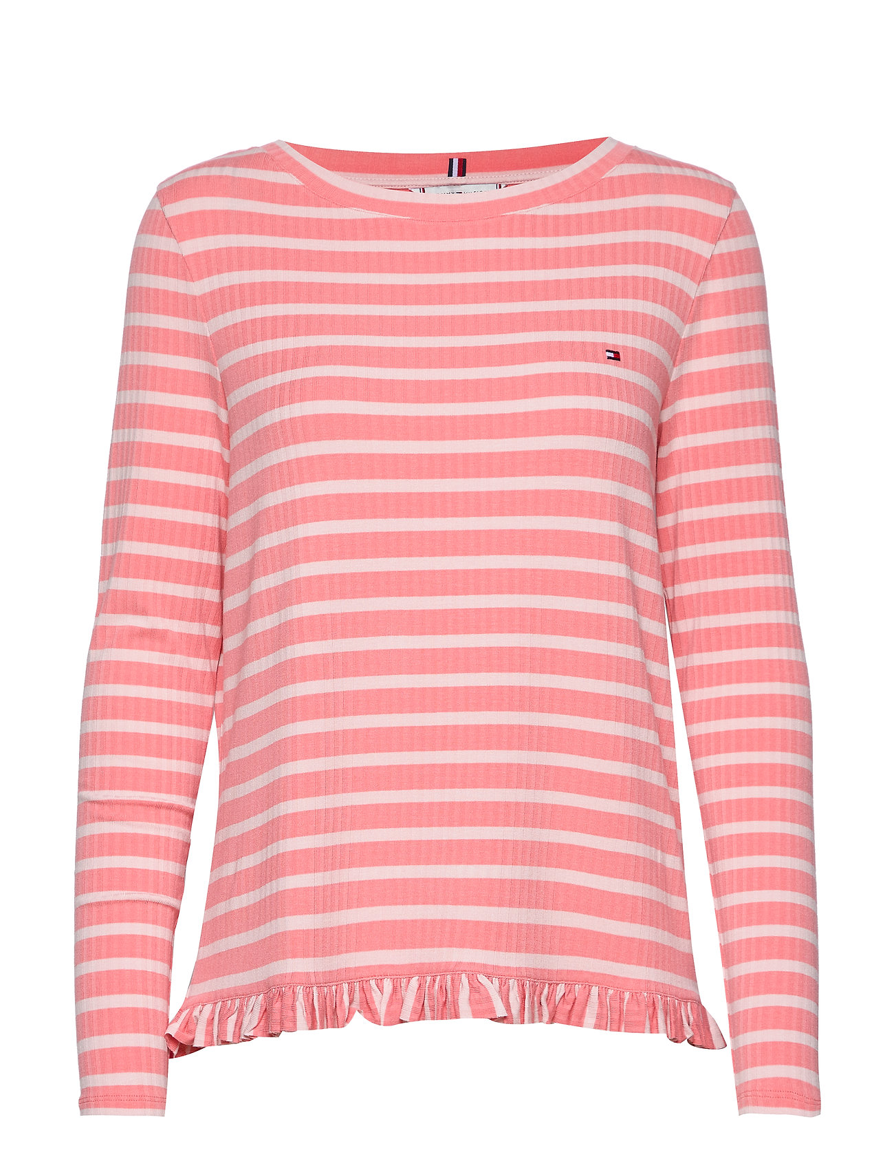 Tommy Hilfiger TANJA RELAXED BOAT-NK TOP LS - BRETON STP / PINK GR. - PALE P