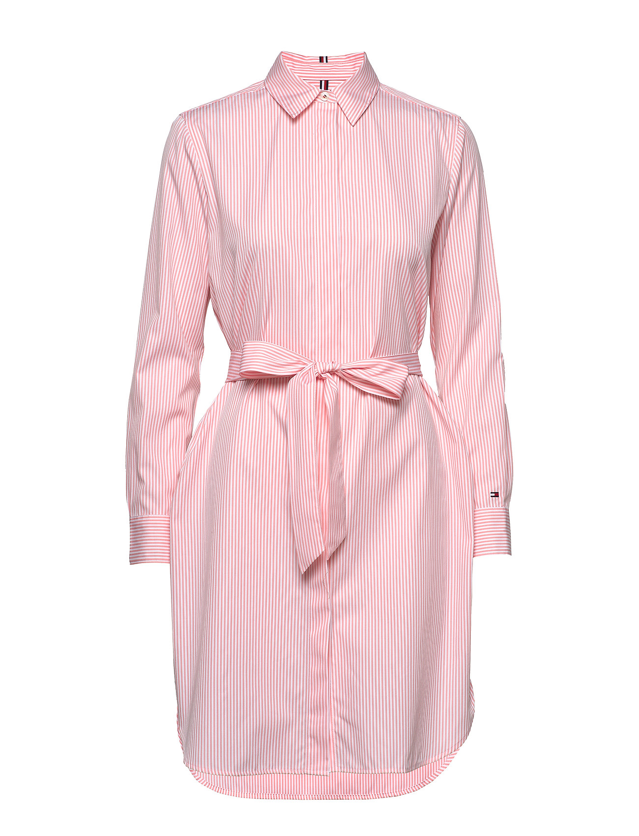 Tommy Hilfiger TH ESSENTIAL SHIRT DRESS LS - YD WE STP / PINK GRAPEFRUIT