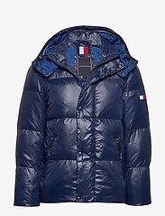 Tommy Hilfiger - SHINY HOODED BOMBER - padded jackets - maritime blue - 0