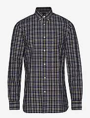 Tommy Hilfiger - HEATHER MULTI WINDOWPANE SHIRT - rutede skjorter - navy blazer / spectra yellow / - 0