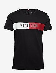 Tommy Hilfiger - BLOCK STRIPE HILFIGE - short-sleeved t-shirts - black - 0