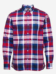 Tommy Hilfiger - FLEX BRIGHT MIDSCALE CHECK SHIRT - rutede skjorter - primary red / phthalo blue / m - 0