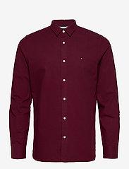 Tommy Hilfiger - SLIM FLEX HERRINGBONE SHIRT - casual shirts - deep burgundy heather - 0
