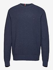 Tommy Hilfiger - STRUCTURE CREW NECK - knitted round necks - faded indigo - 0
