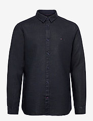 Tommy Hilfiger - SLIM GARMENT DYED LINEN SHIRT - basic shirts - desert sky - 0