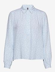 Tommy Hilfiger - DANEE HALF PLACKET BLOUSE LS - long sleeved blouses - posy prt / sail blue - 0