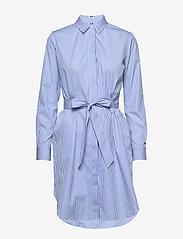 Tommy Hilfiger - TH ESSENTIAL SHIRT DRESS LS - midi dresses - yd we stp / copenhagen blue - 0
