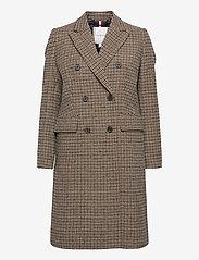 Tommy Hilfiger - DB WOOL BLEND PATTERN COAT - wool coats - amelie blazer chk large beige - 0