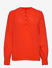 Tommy Hilfiger - ALLYN POP OVER LS BLOUSE - long sleeved blouses - oxidized orange - 0