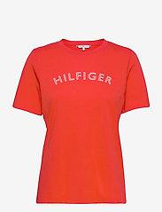 Tommy Hilfiger - REGULAR C-NK OUTLINE TEE SS - t-shirts - oxidized orange - 0
