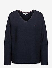 Tommy Hilfiger - ORG CO TEXTURE V-NK SWEATER - sweaters - desert sky - 0