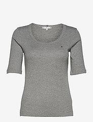 Tommy Hilfiger - SLIM SCOOP-NK COSY TOP 1/2 SLV - t-shirts - light grey heather - 0
