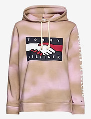 Tommy Hilfiger - ABO EARTH DAY HOODIE - sweatshirts & hættetrøjer - gentle gold / pastel pink prt - 0