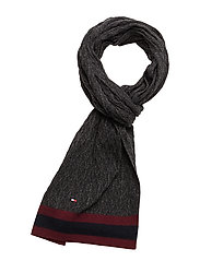 CABLE&STRIPE SCARF - CHARCOAL HTR