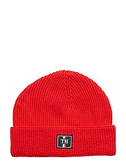 TH PATCH KNIT BEANIE - HAUTE RED