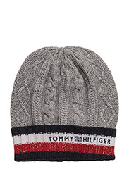 CABLE CORPORATE BEANIE - LIGHT GREY HEATHER
