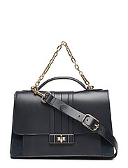 Th Chic Leather Satc Bags Top Handle Bags Svart TOMMY HILFIGER