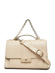Th Chic Leather Satc Bags Top Handle Bags Beige TOMMY HILFIGER