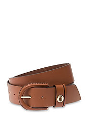 HIGH WAIST OVAL BUCKLE BELT 4.5 - COGNAC