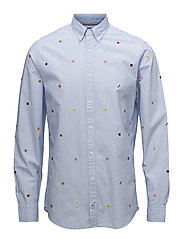 ALL OVER FLAG EMBRO - SHIRT BLUE / BW / MULTI