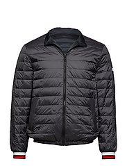 REVERSIBLE NYLON DOWN JACKET - GRAY PINSTRIPE