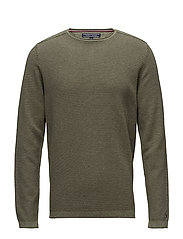 TEXTURED DENIM LOOK SWEATER - IVY GREEN